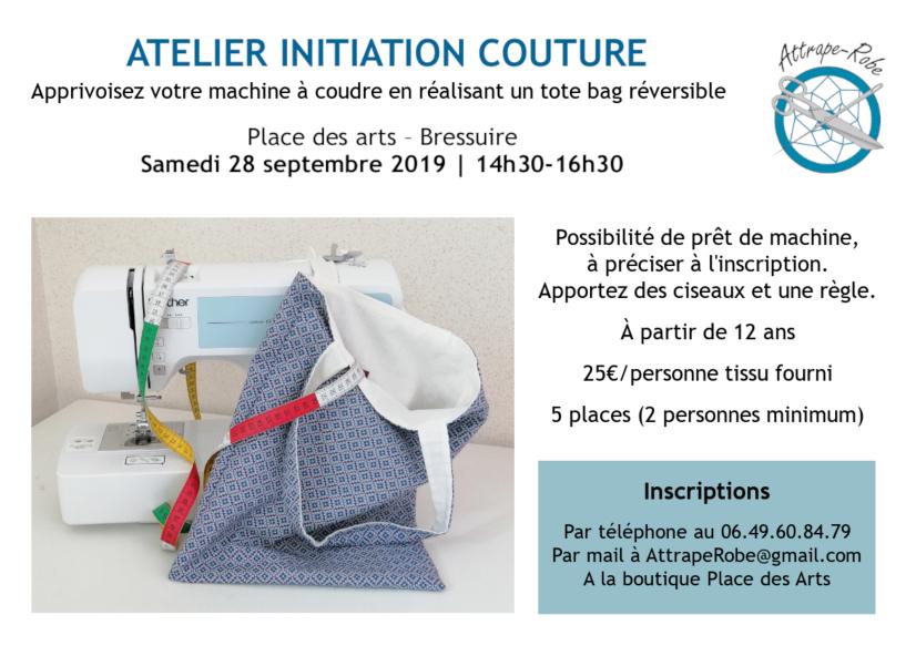 Apprivoisez votre machine à coudre en réalisant un tote bag réversible. Place des Arts - Bressuire  Samedi 28 septembre 2019 - 14h30